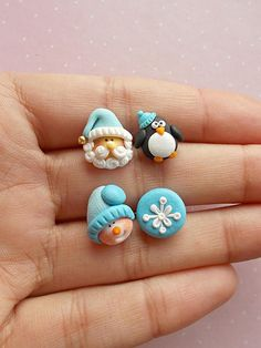 Christmas set of 4 earrings created from polymer clay without molds or forms. With snowman, snowflake, Santa Claus and penguin. The lenght of each earring is 1.2 cm. The metallic parts I use for my creations are nickel free. Suitable also for children. ❀ Price is for 2 pairs of earrings as in
