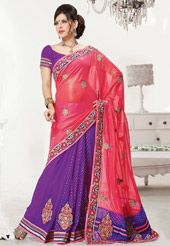 Old Rose and Purple Shimmer Faux Georgette Saree with Blouse