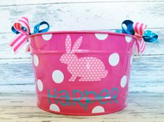 custom personalized 16 QUART name Easter bucket featuring a patterned bunny. $32.50, via Etsy.