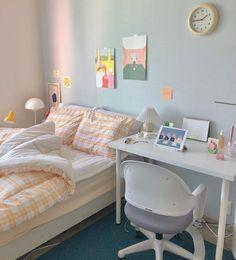 Room Design Bedroom, Room Ideas Bedroom, Small Room Bedroom, Bedroom Decor, Korean Bedroom Ideas, Bedroom Inspo, Study Room Decor, Cute Room Decor, Pastel Room