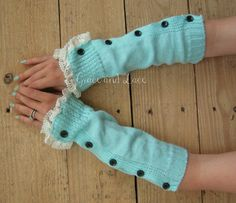 Button Arm Warmers  womens Fingerless Gloves  by GraceandLaceCo