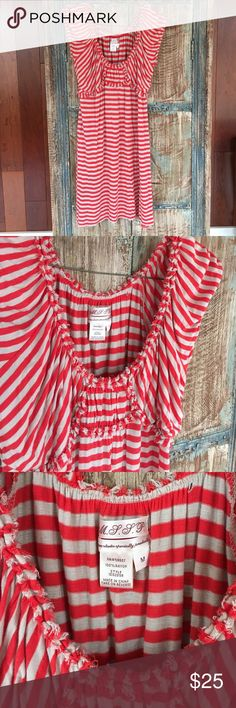 M.S.S.P. Striped Rayon Dress Soft, cool, and oh so comfy for summer. Orangy red and tan stripes. Max Studio Specialty Products (Dillard's, Nordstrom, etc). Max Studio Dresses Midi