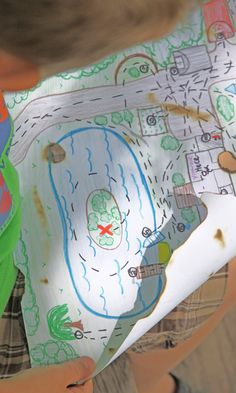 kid's treasure map - easy to follow map to buried treasure of your own property - treasure hunt for little ones!