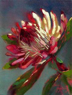 Artwork of Shaune Rogatschnig exhibited at Robertson Art Gallery. Original art of more than 60 top South African Artists - Since Acrylic Flowers, Watercolor Flowers, Watercolor Art, Protea Art, Abstract Flower Art, Australian Native Flowers, Guache, Arte Floral, Botanical Art