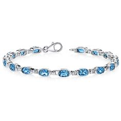 Women's Sterling Silver Genuine Blue Topaz Tennis Bracelet #JRyanFineJewelry #Tennis