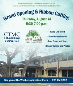 Join us next Thursday for the ribbon cutting and grand opening event at #Wimberley Medical Plaza.