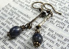 Brass and Sodalite earrings - handmade by Holly Westfall, SilverRoseDesigns