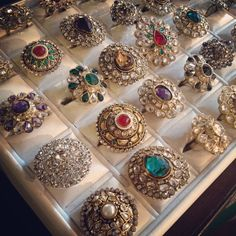 Gem studded rings! Must-have statements for your outfit. #accessories #gems #jewels #rings #studs #indian #desi #fashion