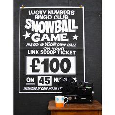#Snowball Game #Bingo #Poster - Pedlars Friday Vintage - Pedlars #Vintage