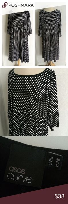 "ASOS Curve polka dot midi dress ASOS Curve black and white polka dot dress. Size 22. Measures 47"" long with a 44"" bust (easily stretches well beyond that). 96% viscose/ 4% elastane. Very good used condition- there is some like crackling in the polka dots near the underarms, but that's all I see that shows wear. 🚫NO TRADES🚫 💲Reasonable offers accepted💲 💰Ask about bundle discounts💰 ASOS Curve Dresses Midi"
