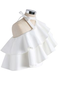Ritzy One-shoulder Ruffled Crop Top in White - Retro, Indie and Unique Fashion Cute Fashion, Unique Fashion, Womens Fashion, Fashion Design, Ladies Fashion, Fashion Tips, Cute Casual Outfits, Pretty Outfits, Blouse Designs