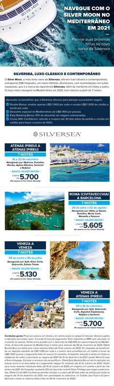 Planeje suas próximas férias no novo barco da Silversea Mykonos, Santorini, Kusadasi, Cruises, Ship, Viajes, Athens, Santorini Caldera