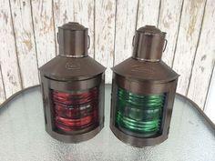 Set Of 2 ~ Metal Port & Starboard Lanterns ~ Ship Oil Lamp ~ Boat Light #RedPortGreenStarboard