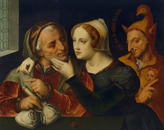 Kwinten Messijs (Matsijs, Quentin Matsys; Flemish,1466-1530): Old Couple with a Fool, about 1600