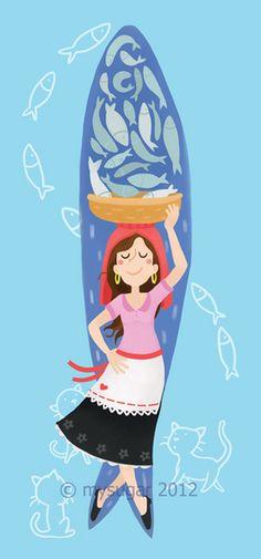 MySugar - sardines project by Rita Balixa, via Behance Illustrations, Illustration Art, Drawing S, Art Drawings, Weird Fish, Arte Pop, Fish Art, Portuguese, Vintage Posters