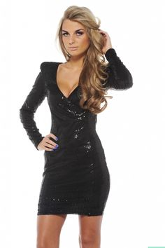 Black Long Sleeve Sequin Dress with V-Front | My Style | Pinterest ...