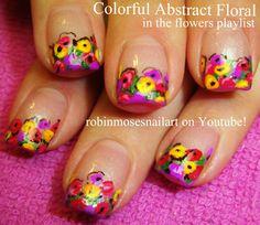 Robin Moses Nail Art: rainbow nail art, cutest rainbow nails, bright rainbow…
