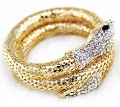 Buy Women s Fashion Vintage Retro Punk Rhinestone Chunky Curved Stretch  Cute Snake Cuff Bangle Bracelet Jewelry at Wish - Shopping Made Fun 8c0ab8fbe84e