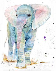 Baby elephant spirit animal wall decor art print by Ellen Brenneman