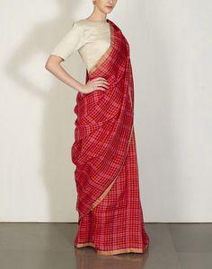 Red & Hot Pink Checks Sari Anavila : Pinned by Sujayita