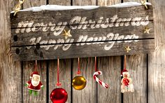 Download wallpapers Merry Christmas, 4k, wooden board, christmas decoration, Xmas, New Year, Christmas