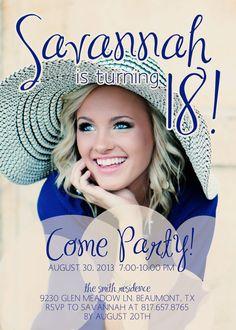 Girl's 18th Birthday Party Invitation - Digital, Photo, Cute, Fun, Modern,