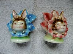 VINTAGE PY LEFTON ANTHRO FLOWER BUNNY RABBIT SALT AND PEPPER SHAKERS
