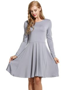 New Women O-Neck Long Sleeve Solid Pleated Casual Dresses