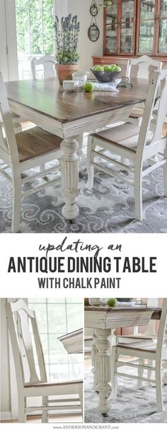 Dining Table Updated with Chalk Paint Transforming an Antique Dining Table and Chairs using white chalk paint.Transforming an Antique Dining Table and Chairs using white chalk paint. Furniture Makeover, Refurbished Furniture, Painted Furniture, Antique Furniture, Diy Furniture, Antique Armoire, Furniture Chairs, Country Furniture, Distressed Furniture