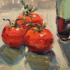 "Daily Paintworks - ""Tomatoes and Balsamic Vinegar"" - Original Fine Art for Sale - © Cathleen Rehfeld"