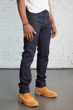 Slim Fit Dark Wash — Dearborn Denim & Apparel | $49 Timberland Boots Outfit, Timberland Style, Timberlands, Mens Fashion Website, Fashion Men, Style Fashion, Stylish Men, Men Casual, Casual Styles