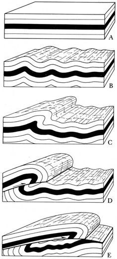 Progressive formation of an asymmetric fold evolving into a thrust with related ramp anticline. #ScienzeGeologichePage