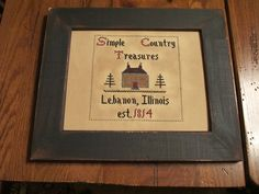 """Simple Country Treasures"" sample.  Designed and stitched by Yesterday Once More Primitives."