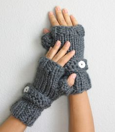 Bulky Hand Knit Charcoal Gray Fingerless Gloves