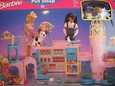 "Barbie Pet Shop Playset w Plush Puppy Dog 3"" Tall & MORE! (1996 Arcotoys, Mattel"