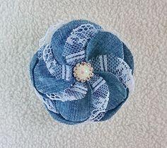 Something blue denim lace flower pearl brooch gift for wife flower brooch Christmas gift trendy denim wedding blue brooch prom corsage