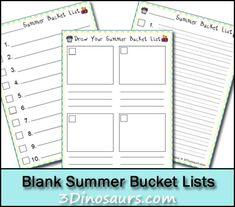 blank summer bucket lists to print