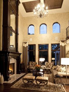 Traditional Living Room Fireplace Tall Ceilings Design, Pictures, Remodel, Decor and Ideas - page 2