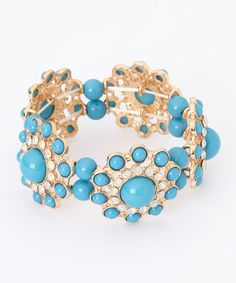 Another great find on #zulily! Turquoise Circle Dot Stretch Bracelet #zulilyfinds