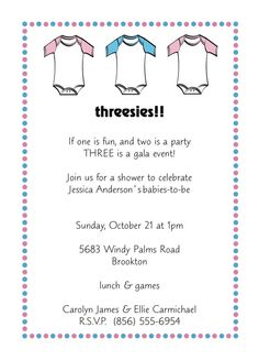 Triplet Baby Shower Invitations by PaperliciousInvites on Etsy, $7.50