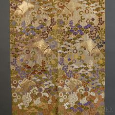 Silk Brocade Obi  Silk Brocade Obi, Japan, Meiji Period (1868-1912), depicting the paulownia crest of the Tokugawa clan in various floral designs in yellow, purple, ivory, green, and brown surrounding a hut, with gold metallic threads, 162 x 12 7/8 in.   Sold for  $960