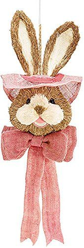 Easter Bunny Rabbit Head with Hat and Bow - Pink Pastel Sisal - Hanging Wall ... Burton & Burton