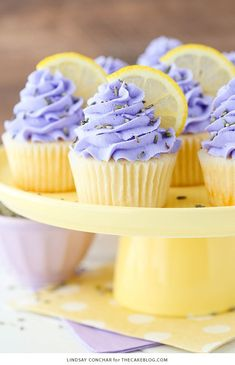 Lemon Lavender Cupcakes – easy lemon cupcakes with lavender buttercream frosting, topped with lavender flowers and fresh lemon slices. A new cupcake recipe by our contributor, Lindsay Conchar. Just Desserts, Delicious Desserts, Dessert Recipes, Yummy Food, Colorful Desserts, Lemon Desserts, Health Desserts, Lemon Recipes, Easter Recipes