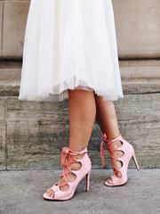 Nouméa Rose....Nothing says elegance like a well chosen pair of high heels.... pastels wedding/ lace-up heels/pink shoes