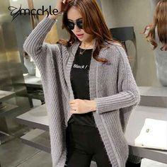 MCCKLE Korean Women Sweater Corchet Long 2015 Autumn Winter New Batwing Sleeve Cardigans Plus Size Women's Knitted Coat ZY623