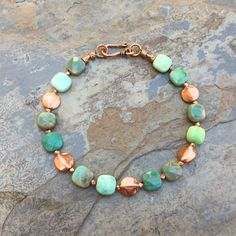 Green Moss Opal and Copper Bracelet, Mens bracelet, Unisex Bracelet, Choose your size by EastVillageJewelry on Etsy