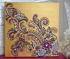 Henna/Mehndi Inspired Acrylic Painting on Canvas - Gold, Pearl & Fuschia Floral - Swarovski Crystal - Home Decor. $120.00, via Etsy.