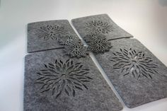 GREY Placemats and Coaster Flames Aster Flower Felt Table Mats Set of 12 pieces | eBay