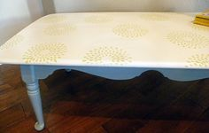 Repainted stenciled coffee table from Saved by Suzy