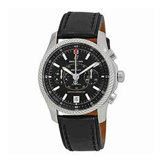 Stainless steel case with a black leather strap. Fixed stainless steel bezel. Black dial with luminous silver-tone hands and index hour markers. Minute markers around the outer rim. Breitling Bentley, Luxury Watches, Stainless Steel Case, Chronograph, Smart Watch, Watches For Men, Black Leather, Classy, Men Watch